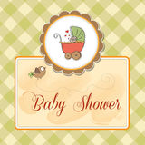 baby shower card with pram Royalty Free Stock Images