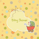 Baby shower card with pram Royalty Free Stock Photo
