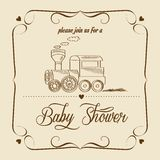 Baby shower card with retro toy Stock Photos