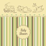 Baby shower card with retro toys Royalty Free Stock Images
