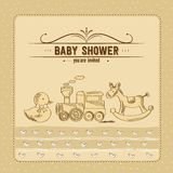 Baby shower card with retro toys Royalty Free Stock Photography
