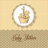 Baby shower card with retro toys Stock Photography