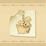 Baby shower card with retro toys Stock Images