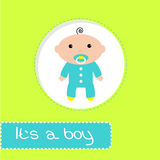 Baby shower card. Its a boy. Vector illustration Stock Photography