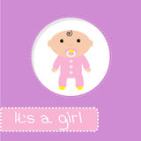 Baby shower card. Its a girl Stock Images