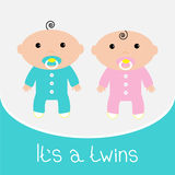 Baby shower card. It's a twins boy and girl. Royalty Free Stock Images
