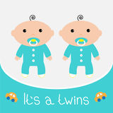 Baby shower card. It's a twins boys. Stock Photo