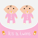 Baby shower card. It's a twins girls. Royalty Free Stock Photography