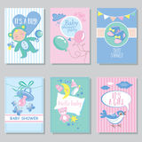 Baby shower card set for boy for girl Happy birthday party it' vector illustration