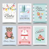 Baby shower card set for boy for girl Happy birthday party its a boy its a girl invitation card poster vector Stock Photo