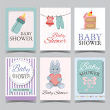 Baby shower card set for boy for girl Happy birthday party its a boy its a girl invitation card poster vector. Baby shower card set for boy for girl Happy Royalty Free Stock Images
