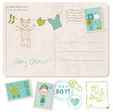 Baby Shower Card with set of stamps Stock Image