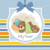 Baby shower card with sleeping teddy bear Stock Photos