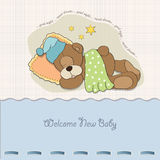 Baby shower card with sleeping teddy bear Royalty Free Stock Photo