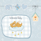 Baby shower card with sleepy teddy bear Stock Photography