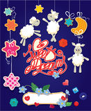 Baby shower card with stars, moon, sheep and hearts. Stock Photos
