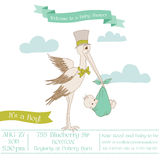 Baby Shower Card with Stork. With place for your text - in Stock Image