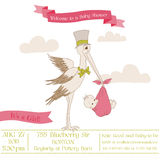 Baby Shower Card with Stork Royalty Free Stock Image