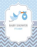 Stork with baby boy. Baby shower card. Stork with baby boy royalty free illustration