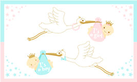 Baby shower card with stork carrying a baby. Little girl and boy. Princess and Prince Stock Photo