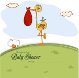 Baby shower card with stork Royalty Free Stock Photos