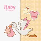 Baby shower card with stork stock illustration