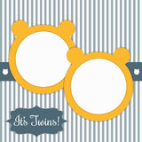 Baby Shower Card With Sunny Yellow Bears And Stripes. It`s Twins Stock Images