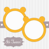 Baby Shower Card With Sunny Yellow Bears And Stripes. It`s Twins Stock Photography