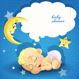 Baby shower card with sweet sleeping newborn baby Royalty Free Stock Photo