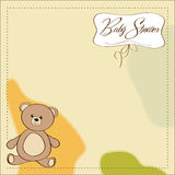 Baby shower card with teddy Stock Images