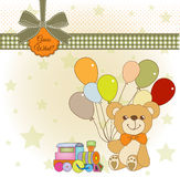 Baby shower card with teddy bear Royalty Free Stock Images