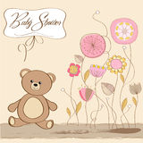 Baby shower card with teddy bear Stock Image