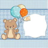 Baby shower card with  teddy bear Stock Photos