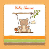 Baby shower card with teddy bear Royalty Free Stock Photography
