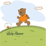 Baby shower card with teddy bear chasing rushed to event Royalty Free Stock Images