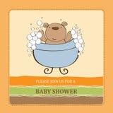 Baby shower card with teddy bear Stock Photo