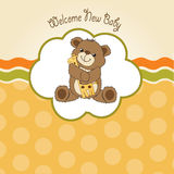Baby shower card with teddy bear and his toy Stock Images