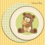 Baby shower card with teddy bear and his toy Royalty Free Stock Photography