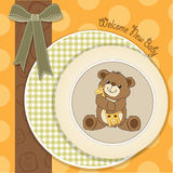 Baby shower card with teddy bear and his toy Stock Photography