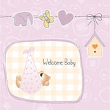 Baby shower card with teddy bear toy Royalty Free Stock Image