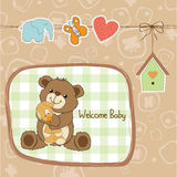 Baby shower card with teddy bear toy Stock Photo