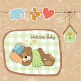 Baby shower card with teddy bear toy Stock Photography