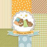 Baby shower card with teddy bear toy Royalty Free Stock Photo