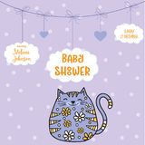 Baby shower card template with fat doodle cat Royalty Free Stock Photography