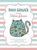 Baby shower card template with fat doodle cat Stock Photography