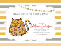 Baby shower card template with fat doodle cat Royalty Free Stock Image