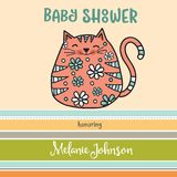 Baby shower card template with fat doodle cat Royalty Free Stock Photos