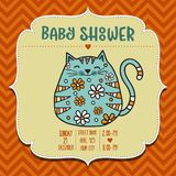 Baby shower card template with fat doodle cat Stock Photo