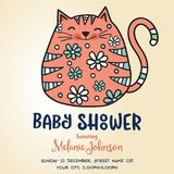 Baby shower card template with fat doodle cat Stock Images