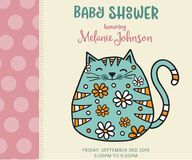 Baby shower card template with fat doodle cat Royalty Free Stock Images